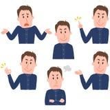 Illustration de diverses expressions du visage d'un homme Image stock