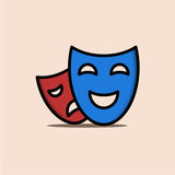 Illustration de drame avec le bleu et le rouge de deux masques Photos stock