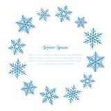 Illustration de fête avec l'espace et des flocons de neige de copie As Photo stock
