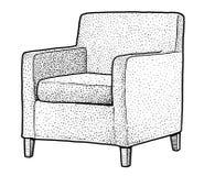 Illustration de fauteuil, dessin, gravure, encre, schéma, vecteur illustration stock