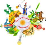 illustration de fest oriental de nauruz de ressort dans Kazakhstan Images stock