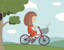 Illustration de fille conduisant un vélo Image stock