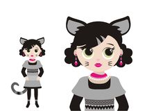 Illustration de fille de chat de mordu de mode Image stock