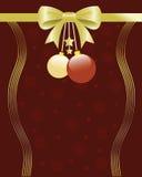 Illustration de fond de Noël avec l'arc, les ornements et les flocons de neige. Images libres de droits