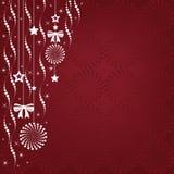 Illustration de fond de Noël des ornements accrochants avec un espace de copie. Photographie stock