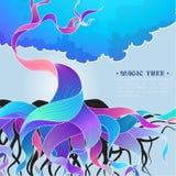 Illustration de fond de vecteur avec l'arbre magique Image stock