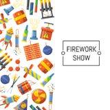 Illustration de fond de pyrotechnie de bande dessinée de vecteur illustration stock