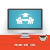 Illustration de formation en ligne Moniteur sur une table Utilisation pour votre couverture, insecte, bannière et web design Images libres de droits