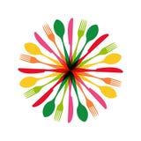 Illustration de forme de cercle de couverts illustration de vecteur