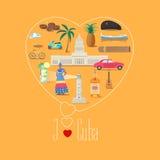 Illustration de forme de coeur avec la citation du Cuba d'amour d'I illustration stock