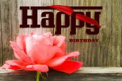 Illustration de foto de carte de lettres de joyeux anniversaire de Rose Photos libres de droits
