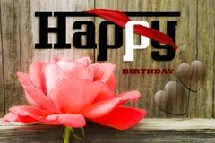 Illustration de foto de carte de lettres de joyeux anniversaire de Rose Photographie stock
