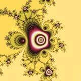 Illustration de fractale sous la forme de rose de rose sur le fond jaune en pastel illustration libre de droits