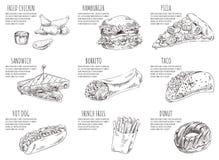Illustration de Fried Chicken Hamburger Set Vector illustration de vecteur