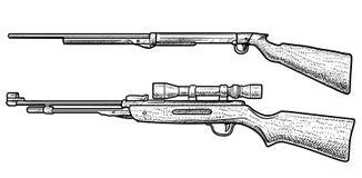 Illustration de fusil à air comprimé, dessin, gravure, encre, schéma, vecteur illustration stock
