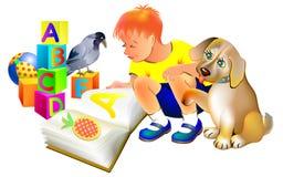 Illustration de garçon lisant un livre avec un chiot Photos libres de droits