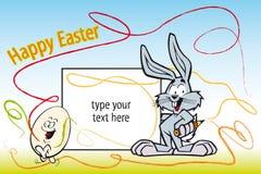 Illustration de gosse pour Pâques avec le lapin de peintre Images libres de droits