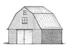 Illustration de grange, dessin, gravure, encre, schéma, vecteur illustration de vecteur