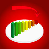 Illustration de graphique et de diagramme de gestion avec descendre la flèche sur l'étape Images stock