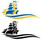 Illustration de graphique de vecteur de bateau de navigation Photos stock