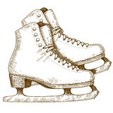Illustration de gravure des chaussures et des lames de patinage de glace Photographie stock libre de droits