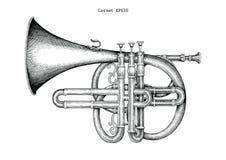 Illustration de gravure de dessin de main de cornet de vintage, le classique illustration stock