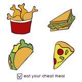 Illustration de griffonnage des aliments de préparation rapide Nourriture industrielle Mangez votre repas de fraude Illustration  illustration de vecteur