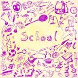 Illustration de griffonnage des objets d'école Dentelez l'illustration décrite des éléments de conception, fond d'aquarelle Images libres de droits