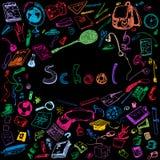Illustration de griffonnage des objets d'école Illustration décrite colorée des éléments de conception, fond noir Photographie stock