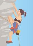 Illustration de grimpeur sur la roche Photo stock