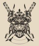 Illustration de guerrier de masque avec des épées image stock