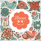 Illustration de guirlande faite de fleurs et herbes Photo stock