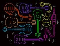 Illustration de guitare dans les couleurs au néon sur le noir Images stock