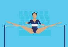Illustration de gymnaste féminin concurrençant sur le cheval de pommeau Photo stock
