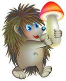 Illustration de hérisson tenant le champignon Images libres de droits