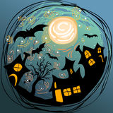 Illustration de Halloween avec des maisons, des battes et la pleine lune Images stock