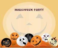 Illustration de Halloween avec l'espace pour votre texte Potirons avec différentes émotions sur le visage Une affiche des invitat Photos libres de droits