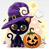 Illustration de Halloween de chat de bande dessinée avec le potiron illustration stock