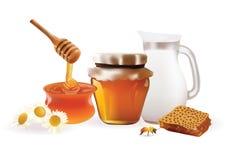 Illustration de Honey Set Realistic de vecteur Pot, banque, abeille, nid d'abeilles, camomille D'isolement sur le fond blanc Images stock