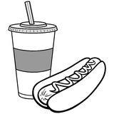 Illustration de hot-dog et de boissons Photos libres de droits
