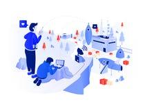 Illustration de jeune entreprise Concept de construction plat moderne Conception de vecteur illustration libre de droits