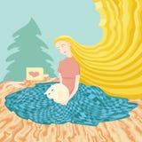 Illustration de jeune fille se reposant au plancher avec le chat de cadeau Image libre de droits