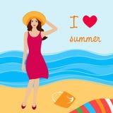Illustration de jolie fille sur la plage illustration stock