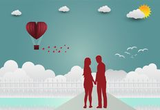 Illustration de jour d'amour et de ` s de Valentine, se tenant de pair, illustration de vecteur