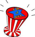 Illustration de Jour de la Déclaration d'Indépendance avec le chapeau américain Photo stock