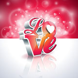 Illustration de jour de valentines de vecteur avec la conception de typographie de l'amour 3d sur le fond brillant Image libre de droits