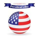 Illustration de jour du président s Drapeau américain sous forme de boule et inscription de salutation sur la bande Utilisable po Photographie stock libre de droits