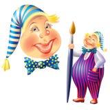 Illustration de joyeux clown avec la brosse Photo libre de droits