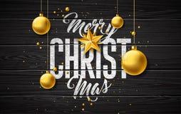 Illustration de Joyeux Noël avec la boule en verre d'or, l'étoile et les éléments de typographie sur le fond en bois de cru Vecte illustration stock
