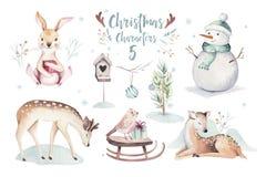Illustration de Joyeux Noël d'aquarelle avec le bonhomme de neige, animaux mignons cerfs communs, lapin de vacances Cartes de cél illustration de vecteur